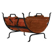 Uniflame Black Wrought Iron Log Holder with Leather Carrier W-1018