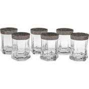 Lorenzo Import 41-CM Set of 6 Rocks Glasses Thick Gold Border