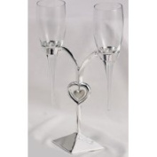 Elegance Silver Pair of Heart Stand Wedding Flutes
