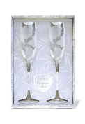 Buns of Maui Hawaiian Etched Champagne Flute Hibiscus Set of 2