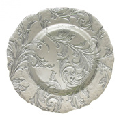 Charge It by Jay Vanessa Round Gold Silver Glass Charger Plate Silver
