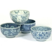 Miya Japanese Sometsuke Bowl Set Includes 4 Bowls