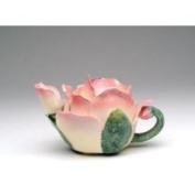 Stealstreet Pink and White Rose Petal-shaped Teapot with Green Leaf-like Handle