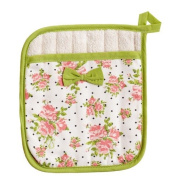 Jessie Steele Coral Spring Rose Bunch Square Pot Mitt with Bow