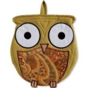 C & F Enterprises Paisley Print Wise Hoot Owl Oven Mitt Kitchen Pot Holder Combo