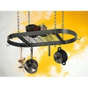 Oval Pot Rack with Grid - Hammered Steel with Chrome Accents