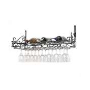 Concept Housewares WR-40701 Metal Wine Bottle and Glass Wall Rack, Matte Black