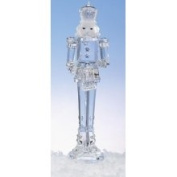 29.8cm Icy Crystal Nutcracker Holding Drum Christmas Figure Decoration