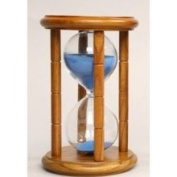 G.W. Schleidt 40015NA-B 15 Minute Sand Timer - Blue Sand in Natural Stand - 16.5cm . Tall