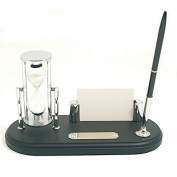 Bey-Berk International Black Wood Pen Stand with 3 Minute Sand Timer and Card Holder