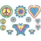 Warner KID5091A Tie Dye Peace Sign Wall Stickers - 12pc Butteflies Symbols Wall Art