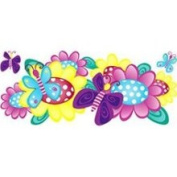Store51 Butterfly and Flowers - 3pc Large Wall Accent Stickers Kit