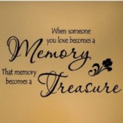 Wall Sayings Vinyl Lettering When Someone You Love Becomes A Memory That Memory Becomes A Treasure 31.8cm H x 58.4cm W Vinyl Lettering Wall Sayings Quote Decal Sticker Art