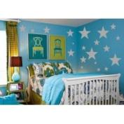 The Custom Vinyl Shop 4887678 68 Silver Stars Wall Sticker Decals Art
