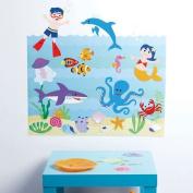 Wallies W13536 Peel and Stick Wall Play Olive Kids Aquarium