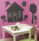 Wallies 16011 Peel and Stick Chalkboard Mural House Trees