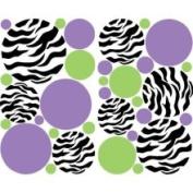 Presto Chango Decorinc 3483179 Zebra Print Dots Purple Green Wall