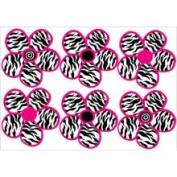 Presto Chango Decorinc 3650450 Zebra Print Black and Hot Pink Flowers