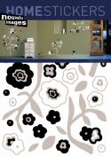Nouvelles Images 2357386 Home Stickers Black White Flower Decorative