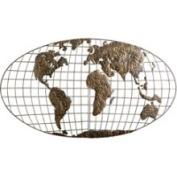Iron World Map Wall Sculpture