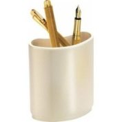 Natico Pearl silver contemporary designed curved pen and pencil cup.