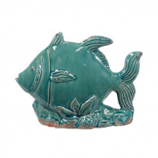 Urban Trends Collection Blue Ceramic Fish Statue (10 x 7.5 x 4)