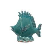 Urban Trends Collection Decorative Blue Ceramic Fish (9 x 9 x 3.5)