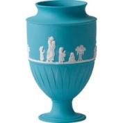 Wedgwood Jasper Classic Giftware Large Vase, White on Turquoise