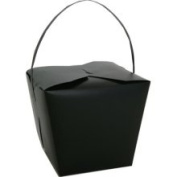 Jam Paper Jumbo Black Plastic Chinese Takeout Container 9 1/2 x 8 1/2 x 7 1/4 - Sold Individually 2966546