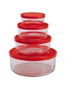 Bormioli Rocco Gelo 4 Piece Glass Storage Bowls with Red Lids