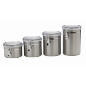Anchor Hocking 4-Piece Stainless Steel Clamp Canister Set with Clear Lid