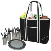 Picnic at Ascot 424-BLK Large Insulated Picnic Tote for Four-Black
