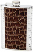 Maxam KTFLBL8 8oz Brown Flask with Faux Leather Wrap