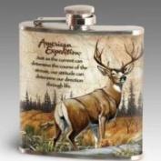 American Expediton STFL-123 Mule Deer 180ml Steel Hip Flask