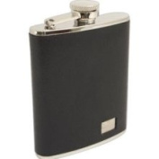 Stainless Steel / Black Buffalo Leather Flask 180ml, T.P. - FS216