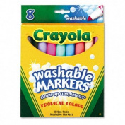 Washable Markers, Conical Point, Tropical Colours, 8/Set