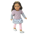 American Doll Clothes 46cm Doll Outfit 2 Pc. Set, Fits 46cm American Girl Dolls & More! (Shoes Sold Separately . Pink and Grey Stripe Dress/Hoodie & Pink Leggings