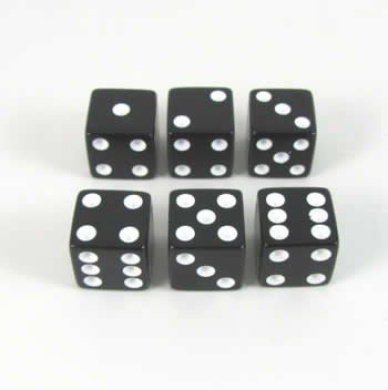 Black with White Spots Opaque Dice D6 16mm Set of 6