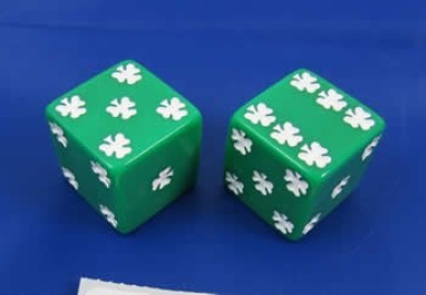 Green Lucky Dice d6 25mm 2ea