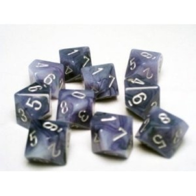 Chessex Dice Sets: Phantom Black with Silver - Ten Sided Die d10 Set (10)