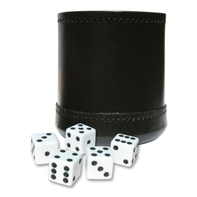 Jumbo Dice Cup: Genuine Leather Large Dice Cup with Five Dice