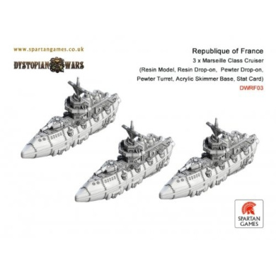 Dystopian Wars: Republique of France - Marseille Class Cruiser (3)
