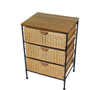 4D Concepts 3-Drawer Wicker Stand, Wicker/ Metal