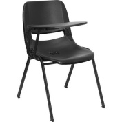 Flash Furniture RUT-EO1-BK-RTAB-GG Black Ergonomic Shell Chair with Right Handed Tablet Arm