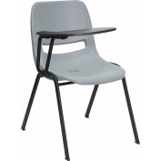 Flash Furniture RUT-EO1-GY-RTAB-GG Grey Ergonomic Shell Chair with Right Handed Tablet Arm