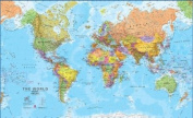 Hemispheres Wall Maps - Set of Two Political Maps -The World and the United States