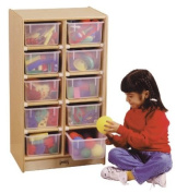 Jonti-Craft Baltic Birch 10-Cubby Mobile Storage Unit with Clear Trays