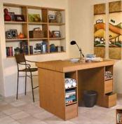 Hideaway Project Centre With 2-3 Bin Cabinets in Oak By Venture Horizon