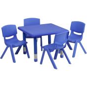 24'' Square Adjustable Green Plastic Activity Table Set with 4 School Stack Chairs