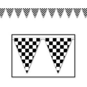 Chequered Outdoor Pennant Banner (black & white) Party Accessory  (1 count)